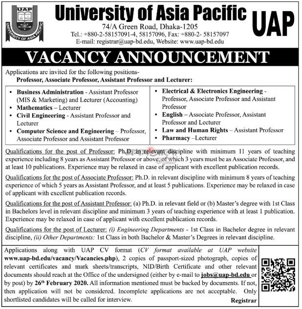 UAP Job Circular 2020