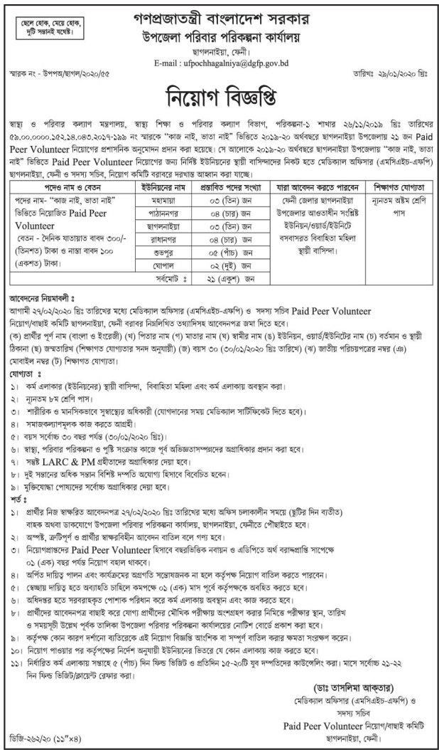 Upazila family planning office, Chhagalnaiya,  Feni Job Circular 2020