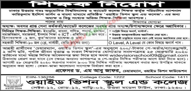 Wide Vision School and College job circular 2020