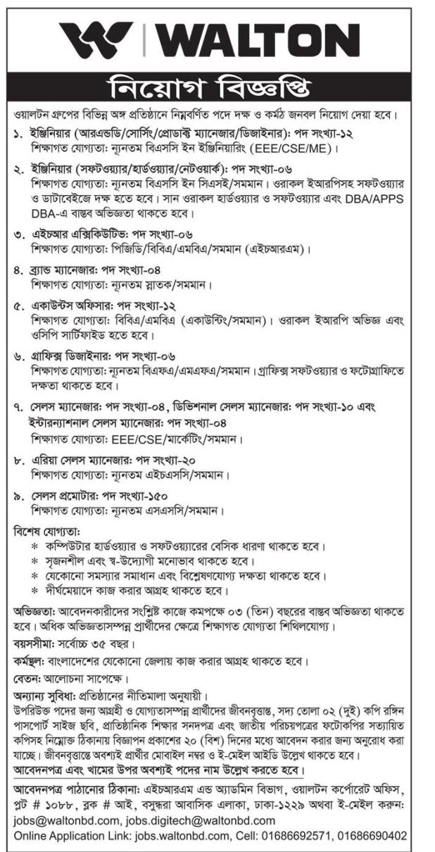 Walton Group Job Circular March 2020