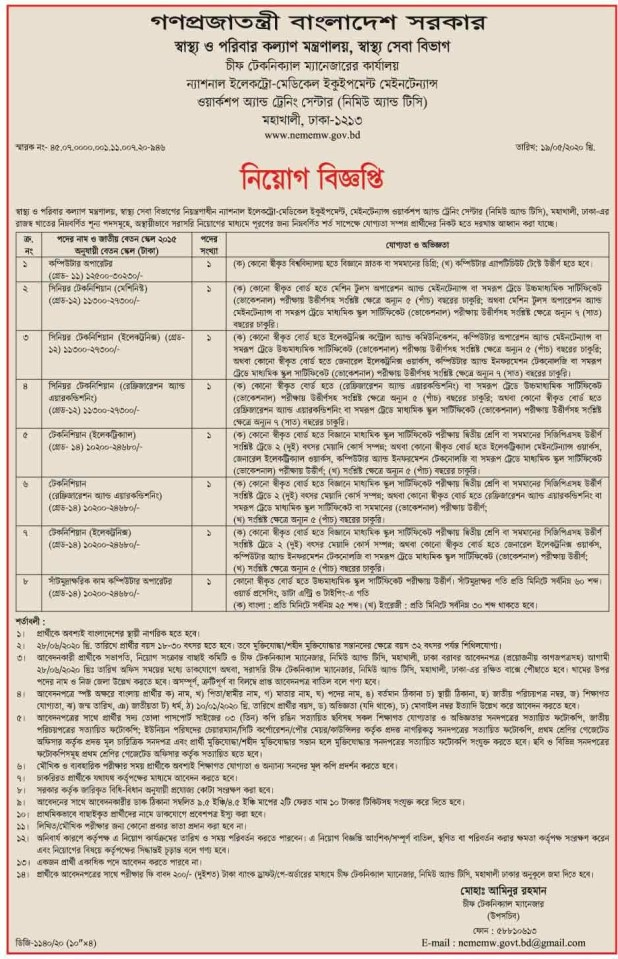 Ministry Health Family Welfare Job Circular 2020