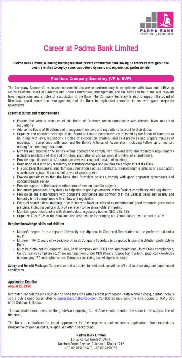 Padma Bank Limited Job Circular August 2020