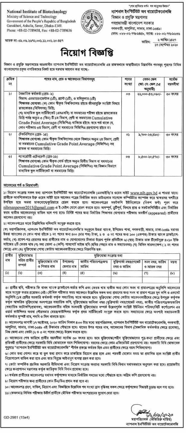 National Institute Of Biotechnology Job Circular 2020