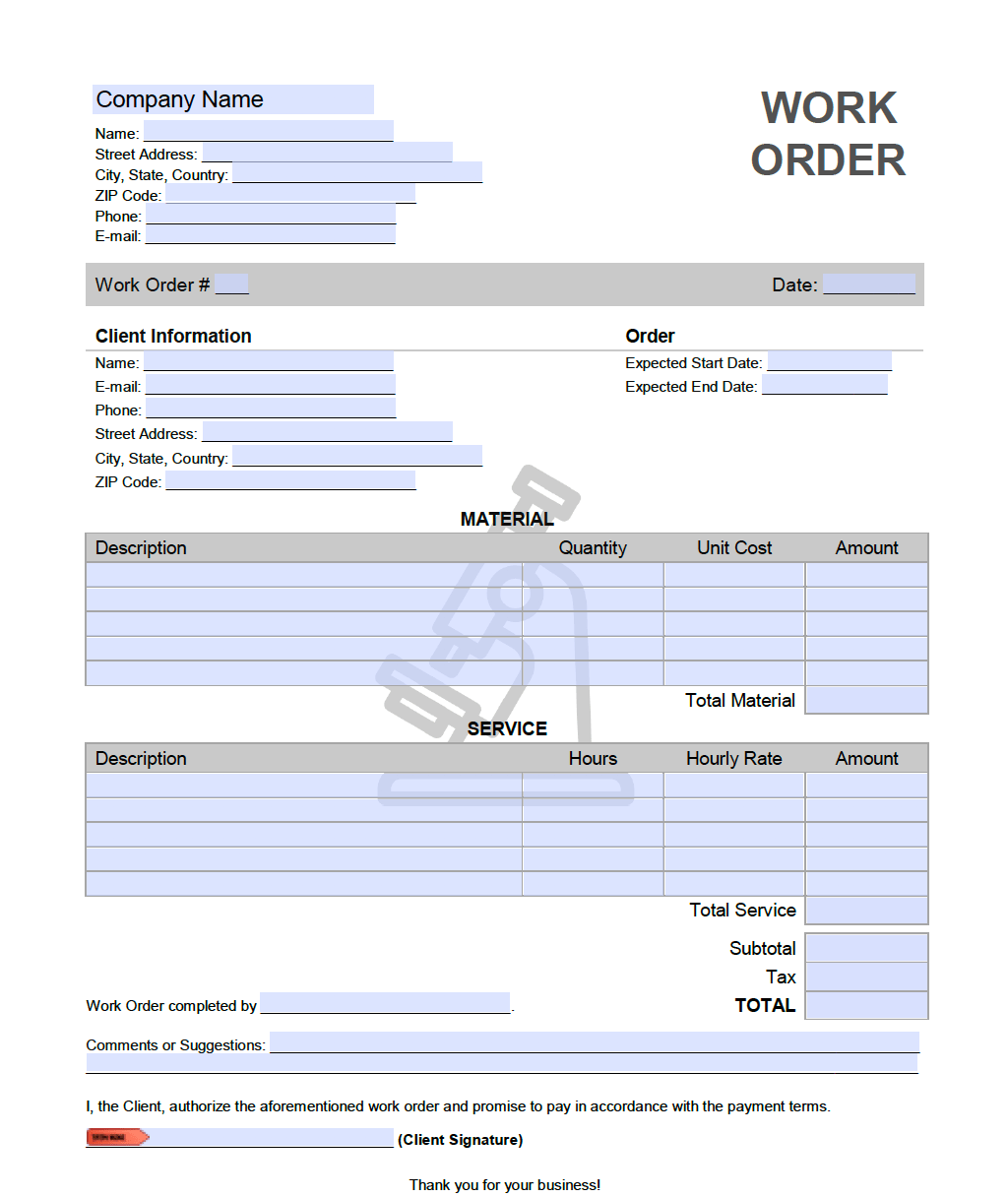 Lab Work Order Template