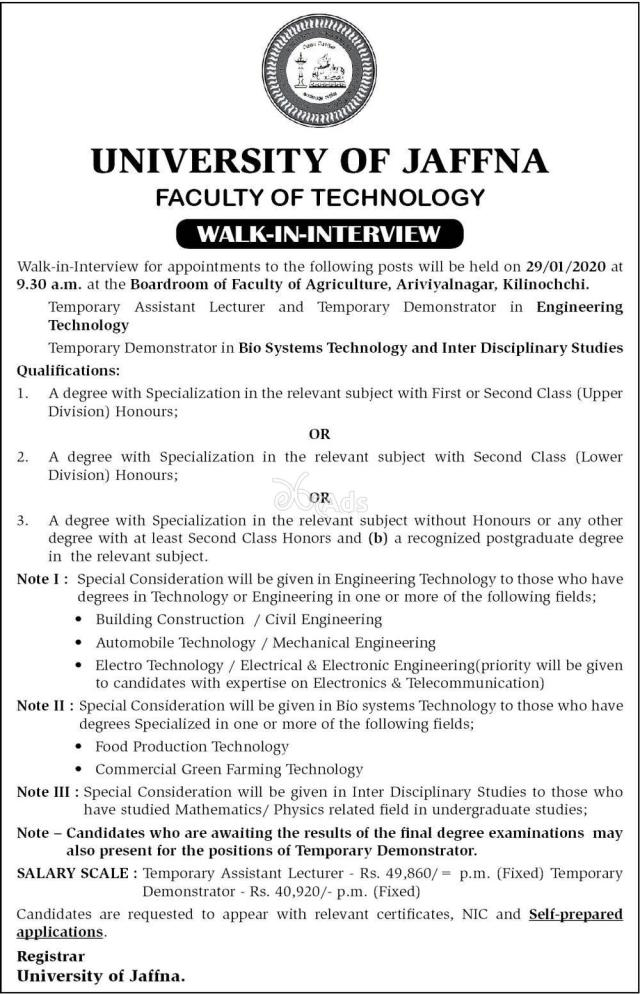 Temporary Assistant Lecturer, Temporary Demonstrator - University of Jaffna 202o