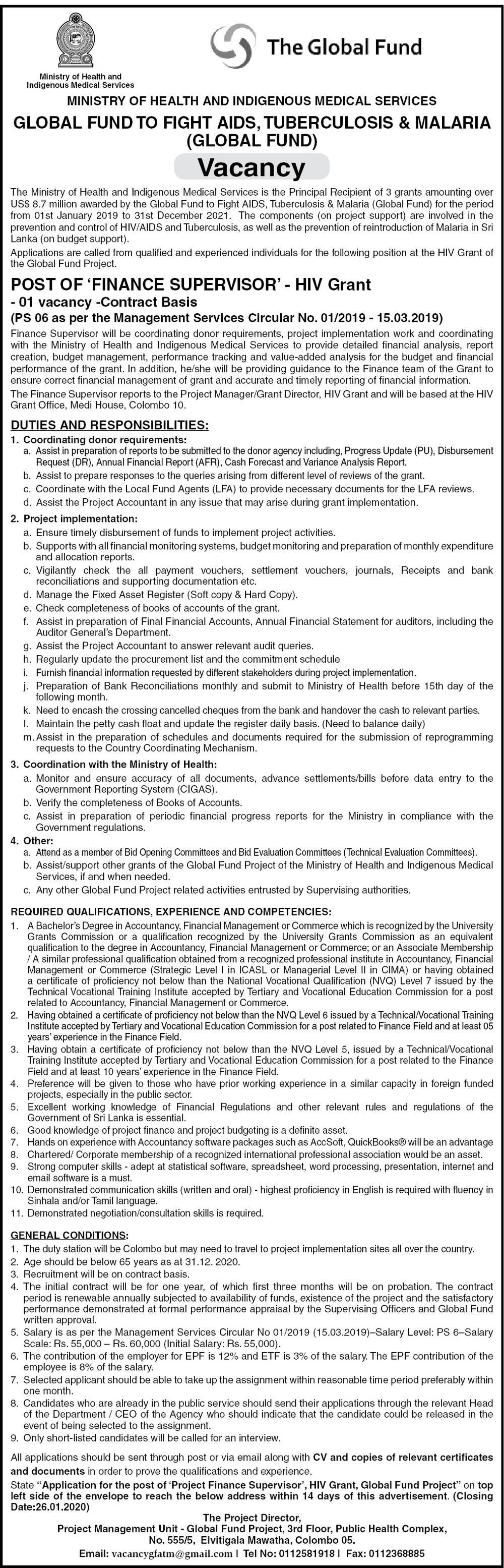 Ministry of Health Job Vacancies 2020