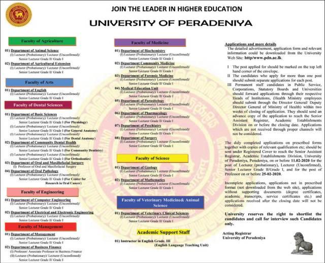 Lecturer, Senior Lecturer, Professor, Instructor in English - University o Peradeniya