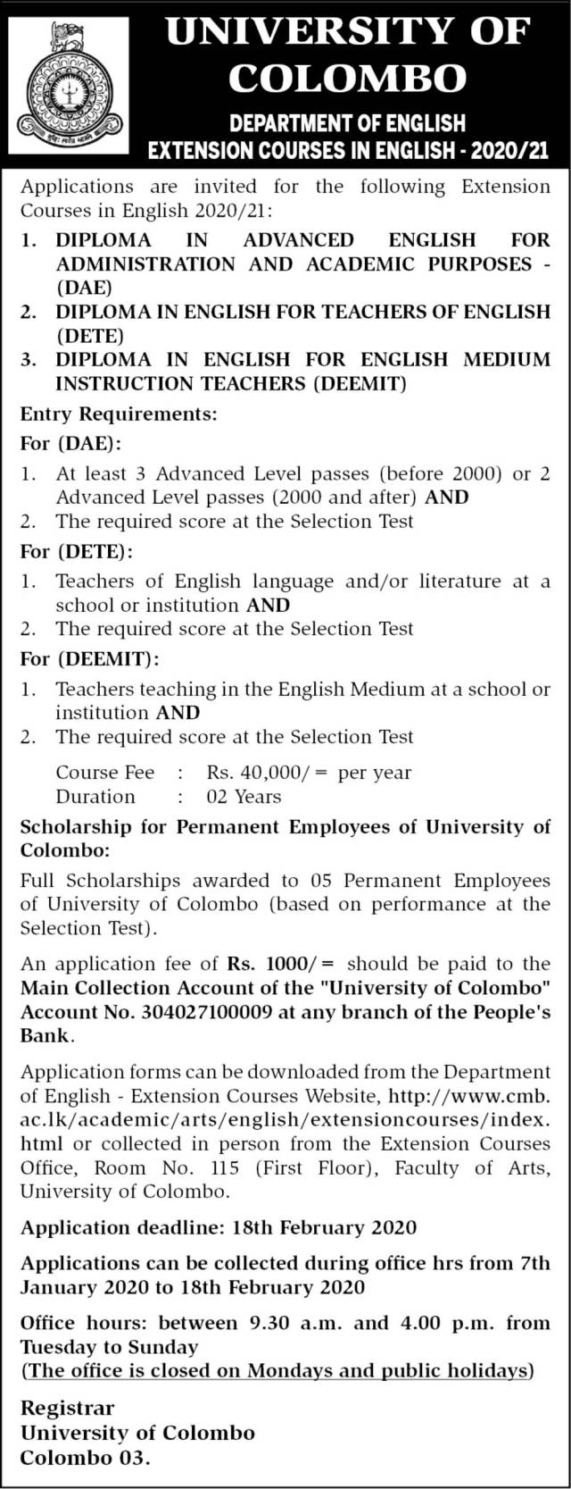 Extension Courses in English - Department of English - University of Colombo