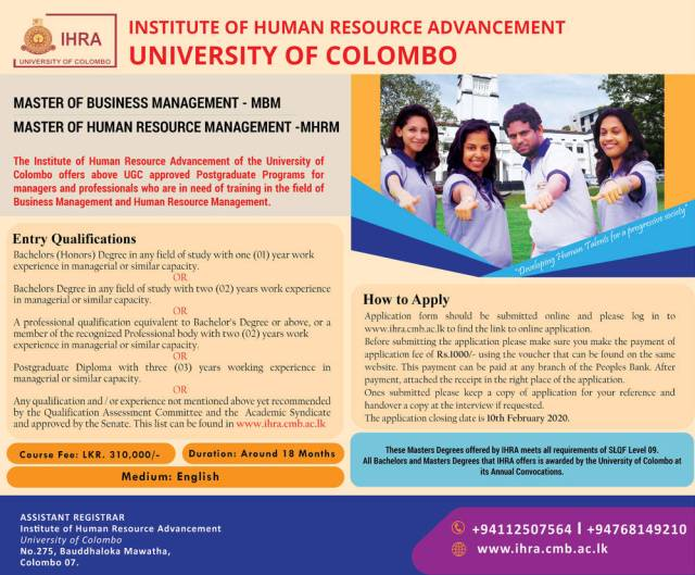 Master of Business Management, Master of Human Resource Management - Institute of Human Resource Advancement - University of Colombo