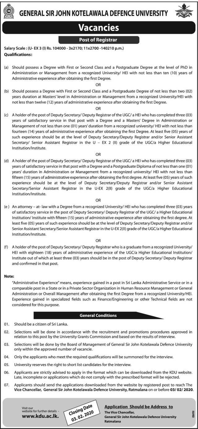 General Sir John Kotelawala Defence University Vacancies 2020