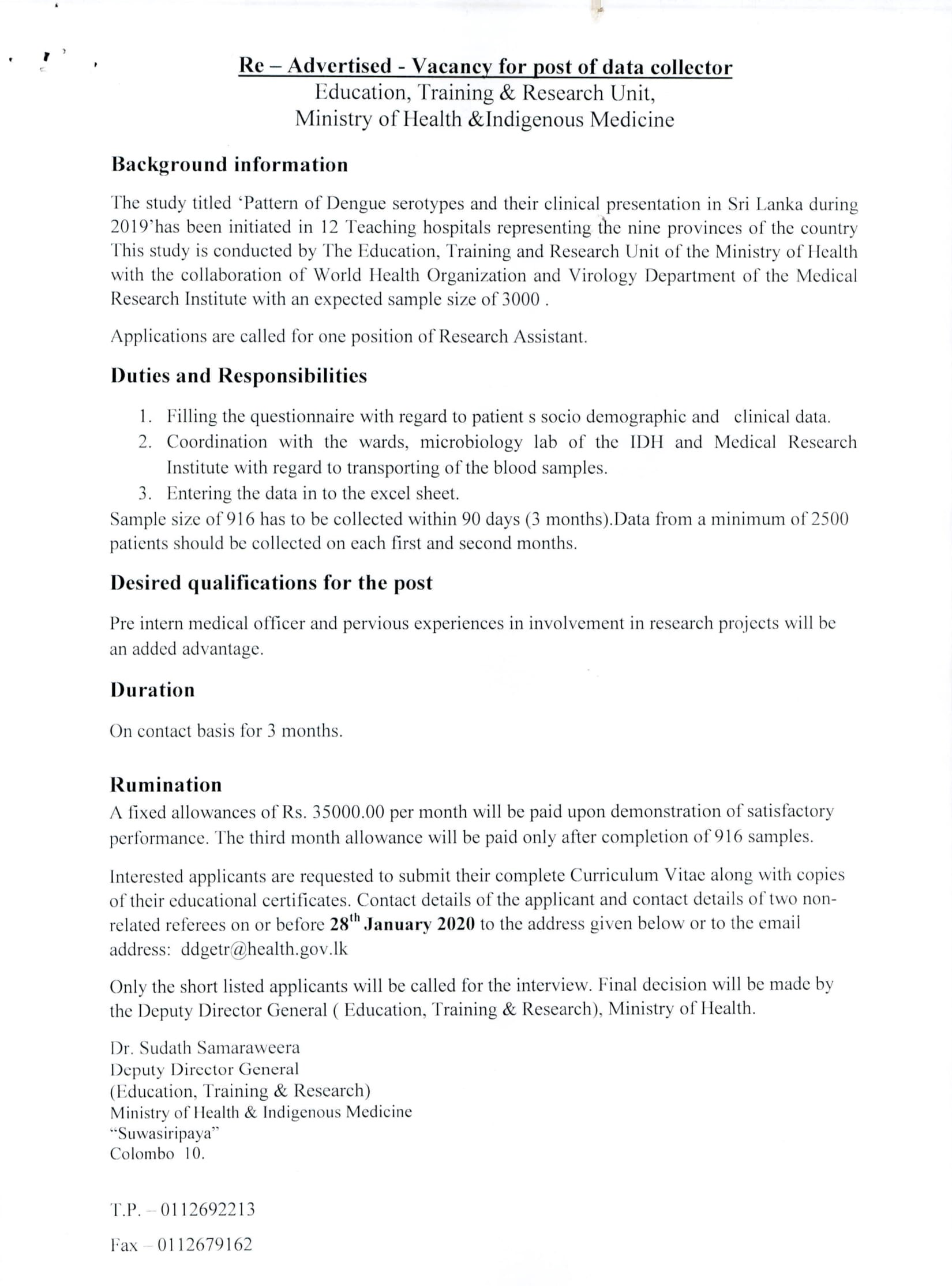 Research Assistant - Ministry of Health & Indigenous Medicine