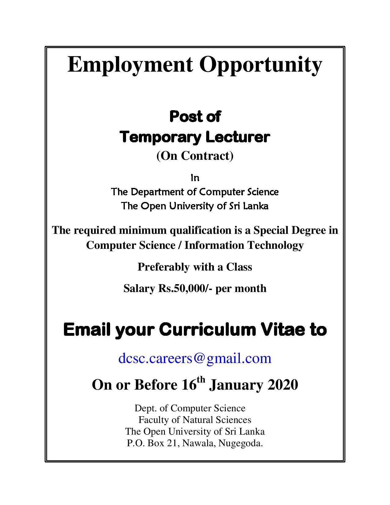 Temporary Lecture – The Open University Of Sri Lanka