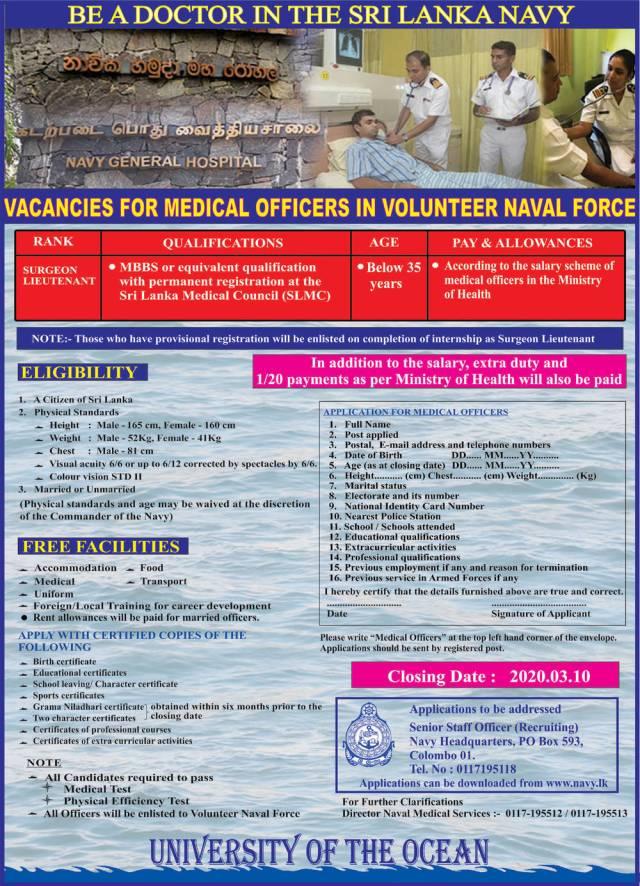 Medical Officer - Sri Lanka Navy 2020 Jobs