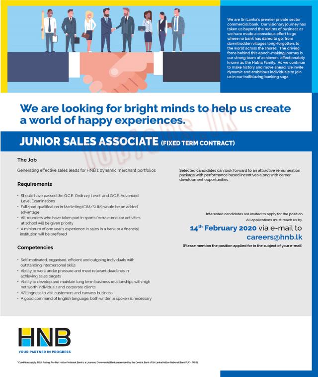 Junior Sales Associate (Fixed Term Contract) - HNB Bank