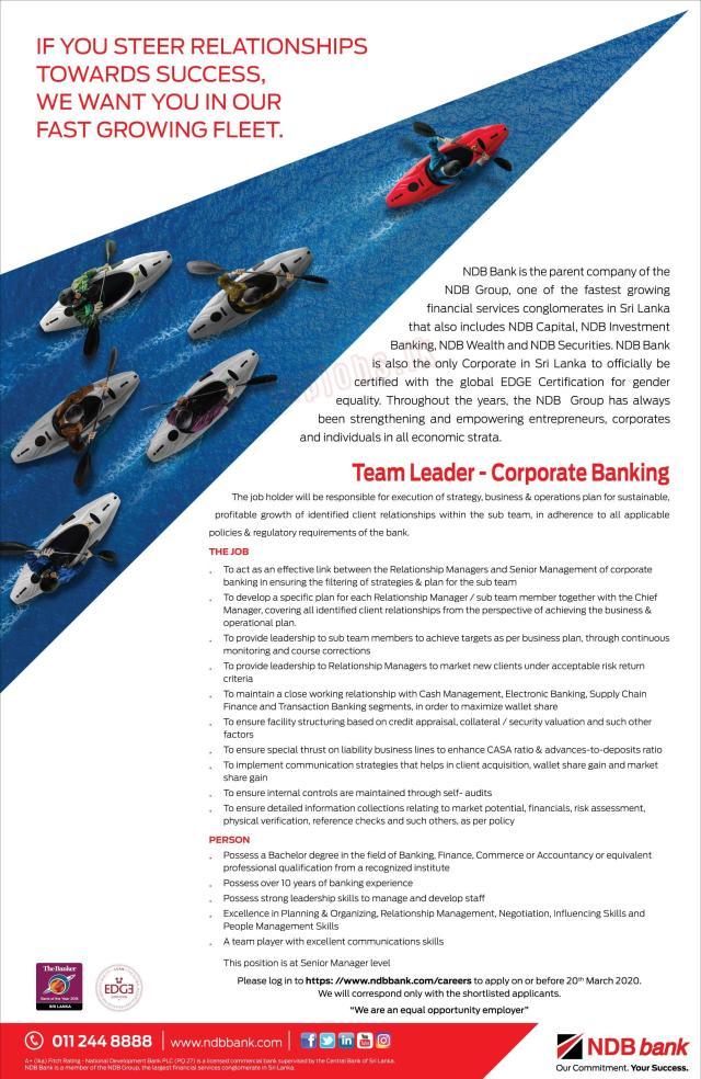 Team Leader - Corporate Banking - National Development Bank PLC