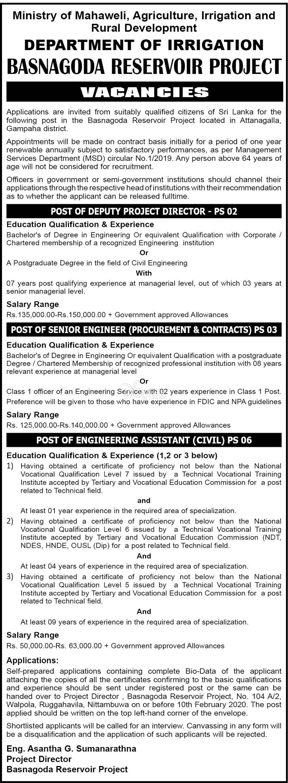 Deputy Project Director, Senior Engineer, Engineering Assistant - Department of Irrigation