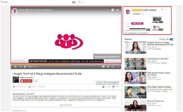 Advertenties op youtube