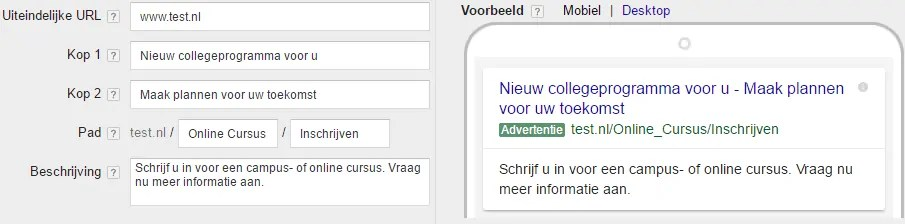Google Adwords - Nieuwe functies - Expanded text ads