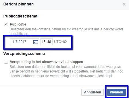 social media bericht plannen