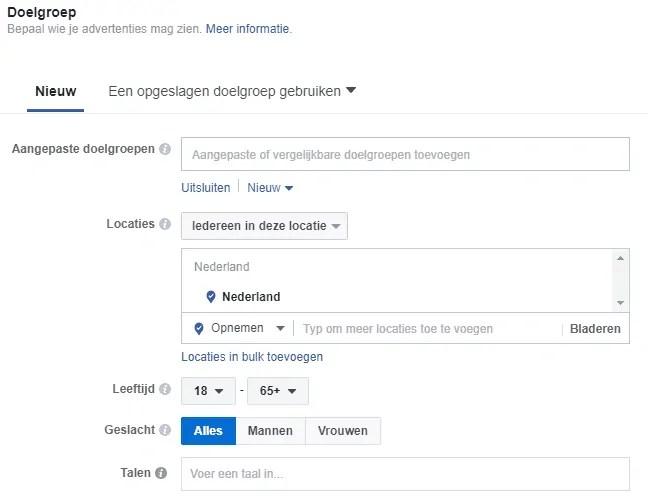 doelgroep facebook adverteren