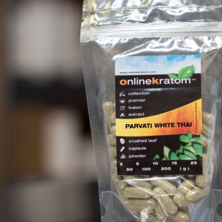 Capsules of the Parvati White Thai Kratom Packaging