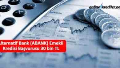 Photo of Alternatif Bank (ABANK) Emekli Kredisi Başvurusu 30 bin TL