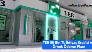 Photo of TEB 50 Bin TL İhtiyaç Kredisi ve Örnek Ödeme Planı