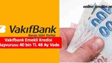 Photo of Vakıfbank Emekli Kredisi Başvurusu 40 bin TL 60 Ay Vade