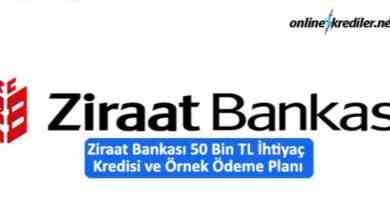 Photo of Ziraat Bankası 50 Bin TL İhtiyaç Kredisi ve Örnek Ödeme Planı