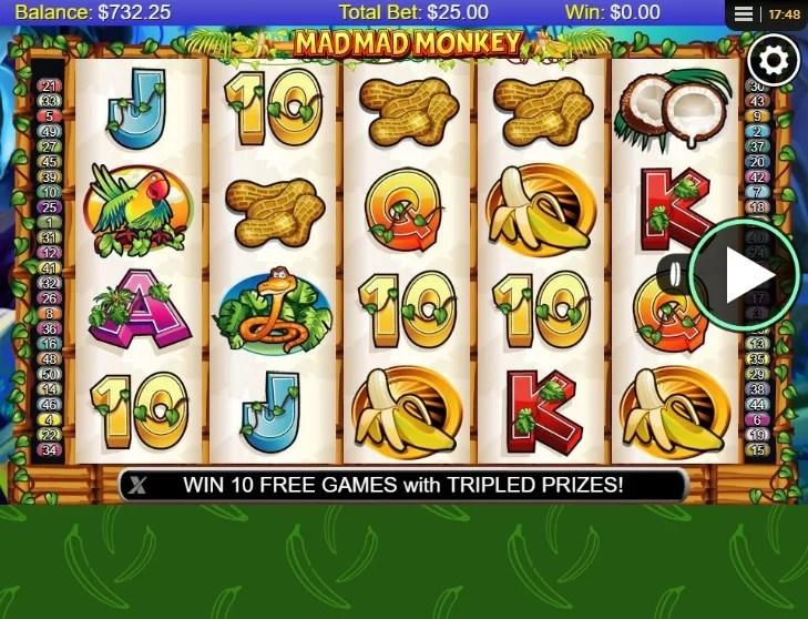 Plansza gry Mad Mad Monkey. Bonus Mad Mad Mad to darmowe spiny, a RTP Mad Mad Monkey wynosi ponad 95%.