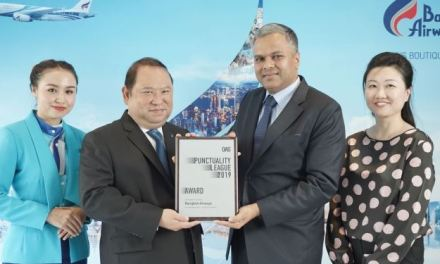 BANGKOK AIRWAYS : THE MOST PUNCTUAL AIRLINE ASIA PACIFIC AWARD (2ND PLACE) FROM OAG