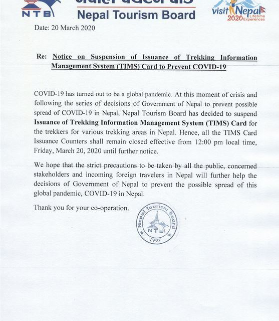 Notice on Suspension of Issuance of TIMS card to Prevent COVID-19