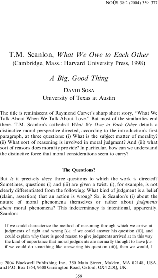 What Do We Owe To Each Other : other, Scanlon,, Other, (Cambridge,, Mass.:, Harvard, University, Press,, 1998), Thing, Noûs, Wiley, Online, Library