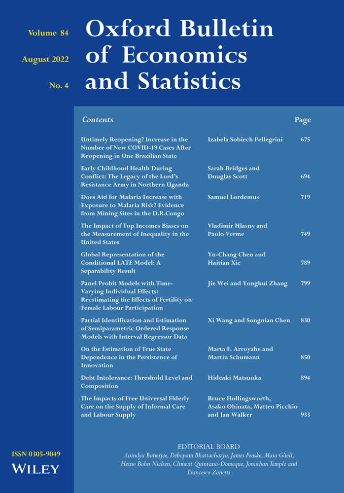 Oxford Bulletin of Economics and Statistics: List of Issues ...