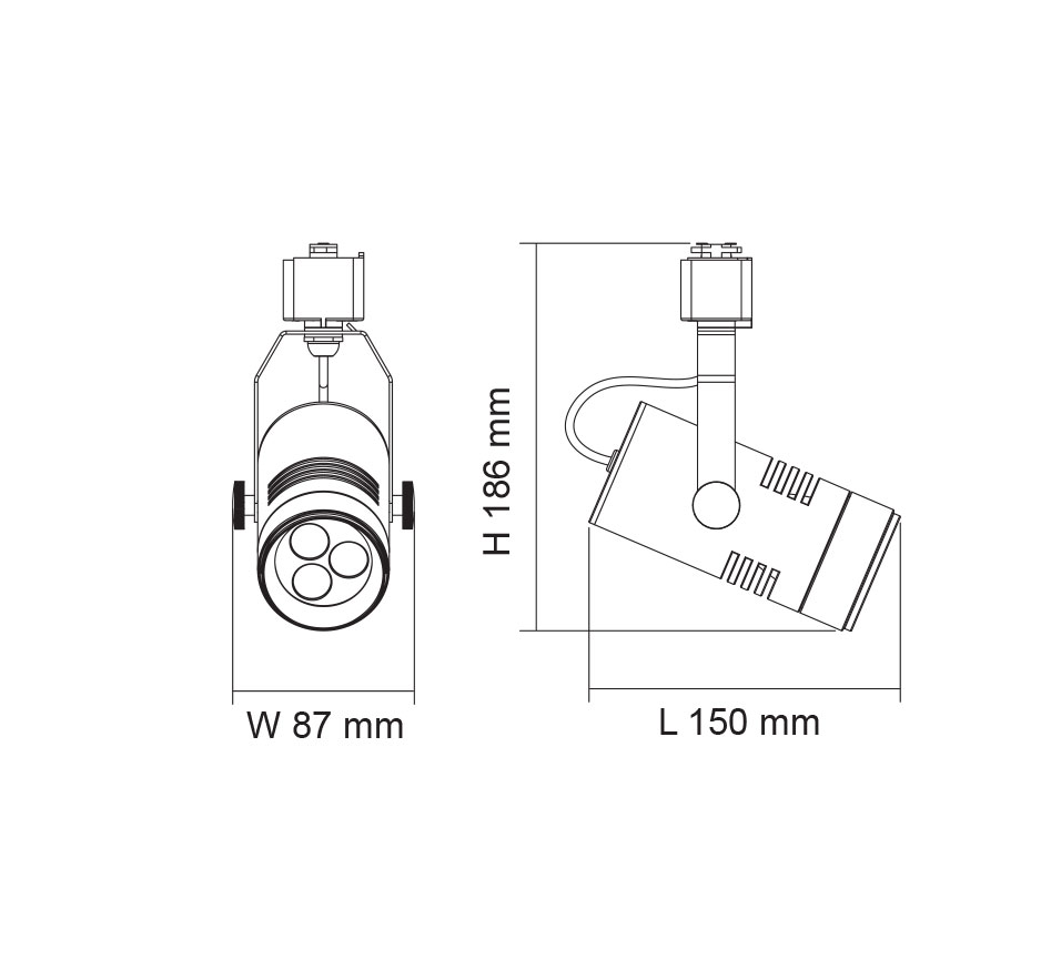 Single Circuit Spot II 3 Wire 4W LED Track Light Warm