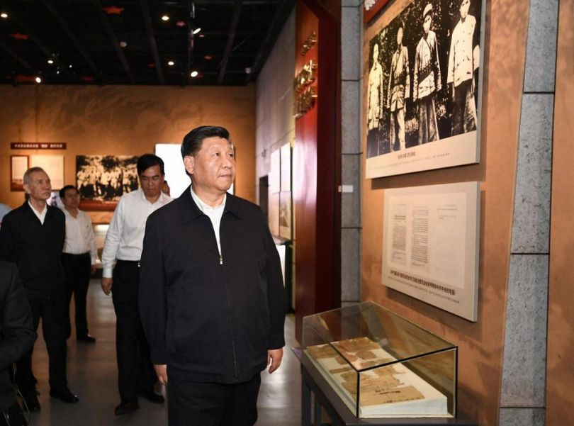 Chinese President Xi Jinping visits a memorial hall marking the departure of the Long March by the Central Red Army in Yudu County, Ganzhou City, during an inspection tour of east China's Jiangxi Province.