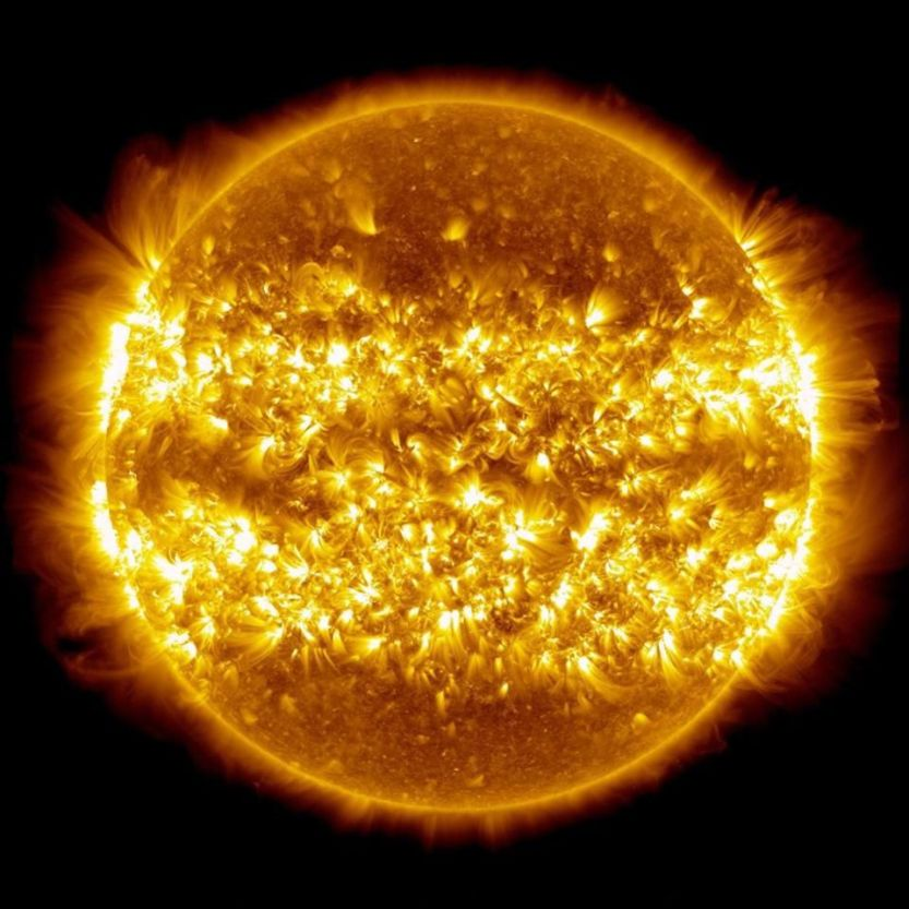 A composite of 25 images of the Sun, showing solar outburst/activity over a 365 day period. Without the right amount of nuclear fusion, which is made possible through quantum mechanics, none of what we recognize as life on Earth would be possible. Over its history, approximately 0.03% of the mass of the Sun, or around the mass of Saturn, has been converted into energy via E = mc^2.