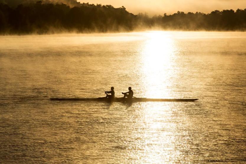 Rowers on Lake Fayetteville in Fayetteville AR