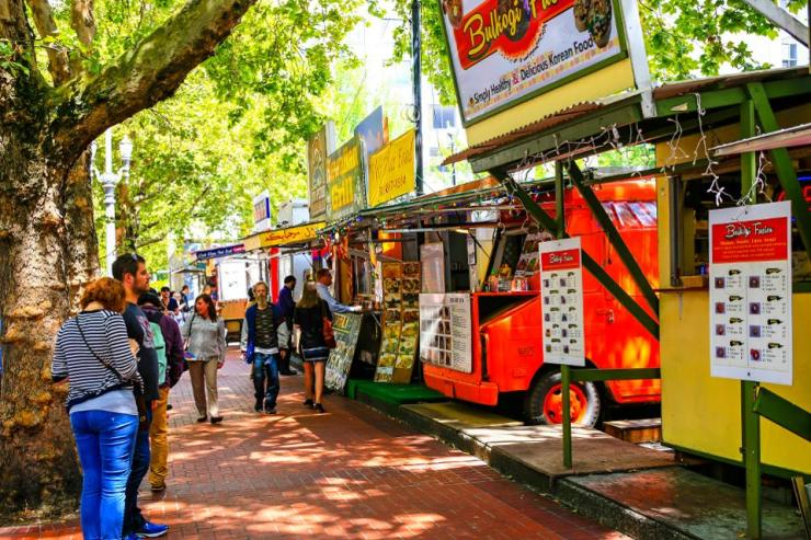 Multi-ethnic fast-food vendors in downtown Portland, Oregon