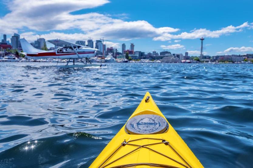 Kayaking at Lake Union in Seattle, Washington