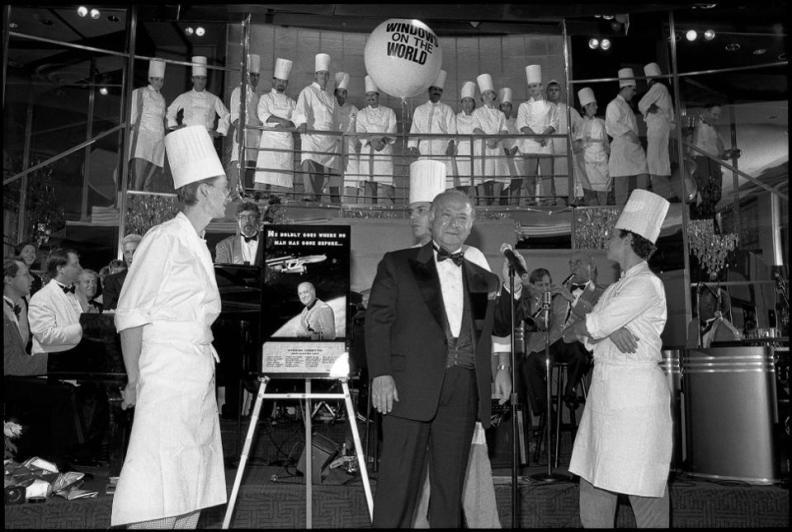 Restaurateur Joe Baum makes a speech at his newly renovated Windows on the World on September 10, 1995.