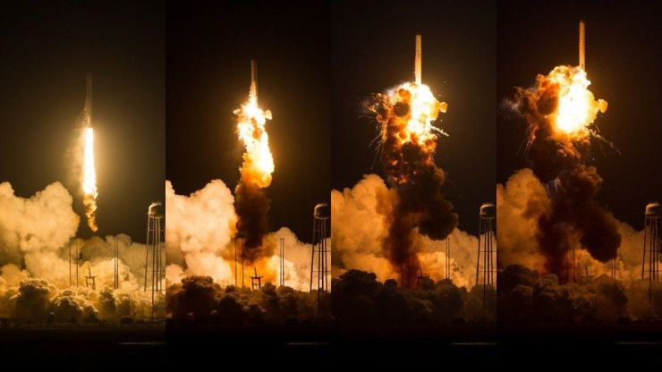 This time-series photograph of the uncrewed Antares rocket launch in 2014 shows a catastrophic... [+] explosion-on-launch, which is an unavoidable possibility for any and all rockets. Even if we could achieve a much improved success rate, the risk of contaminating our planet with hazardous waste is prohibitive for launching our garbage into the Sun (or out of the Solar System) at present.