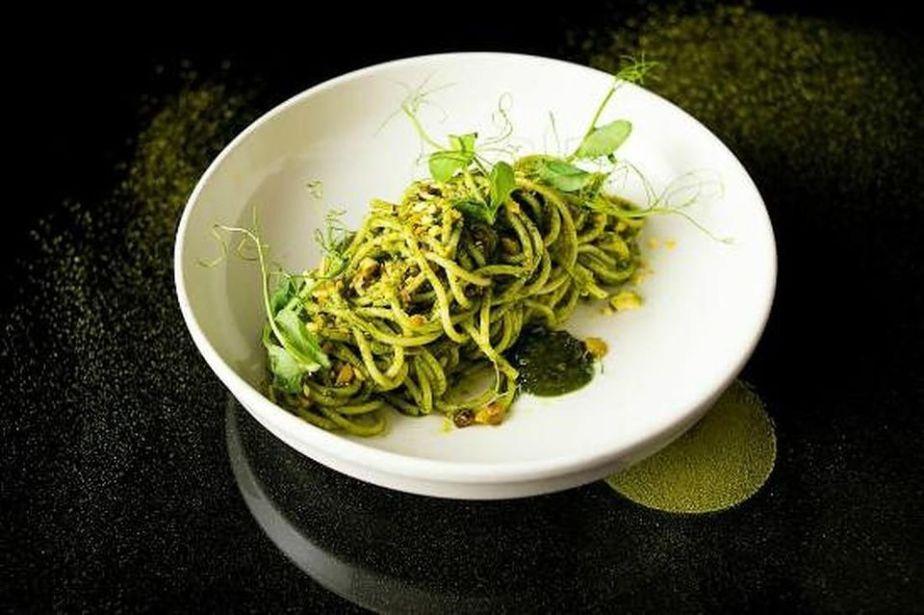 Pistachio Pesto Spaghetti at Gelso & Grand in New York City.