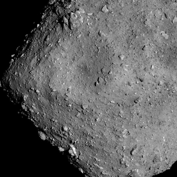 Asteroid Ryugu from an altitude of 6km, which Japanese spacecraft Hayabusa2 has been exploring since June 2018.