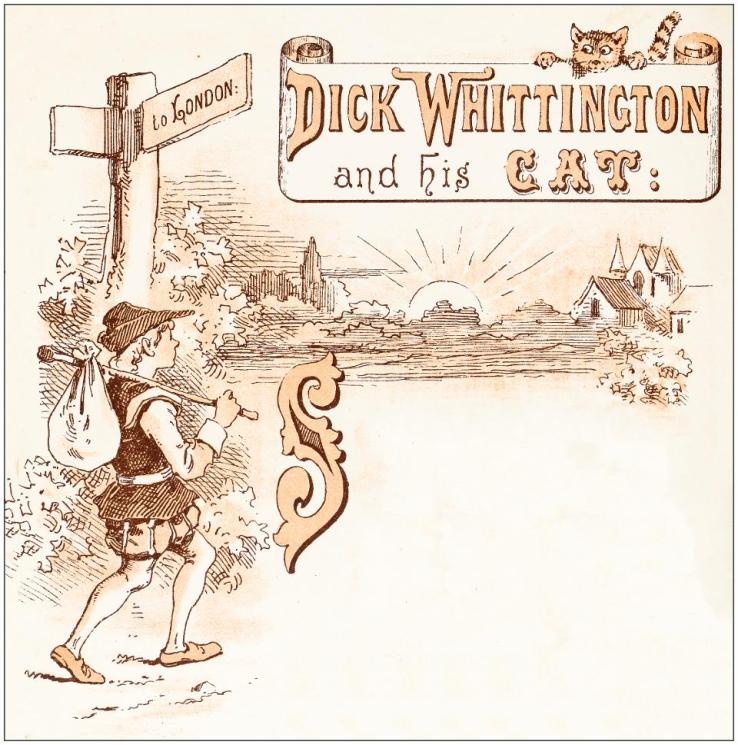 Antique illustration from fables picture book: Dick Whittington and his cat