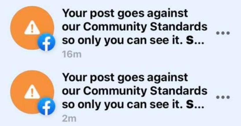 A screenshot of Facebook's message to banned posts.