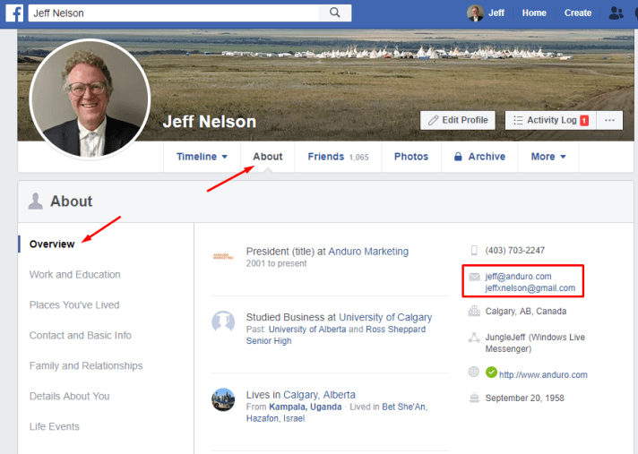 How to find email address from facebook