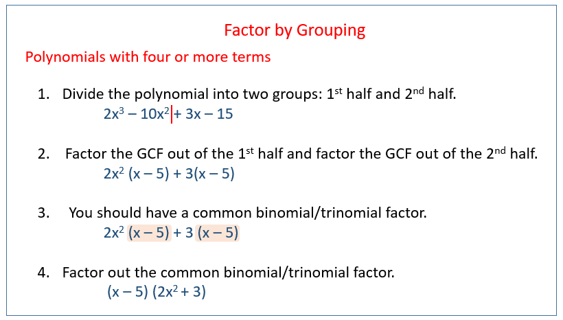 Factoring By Grouping (solutions, Examples, Videos