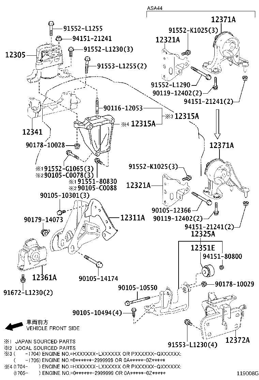Toyota RAV4 Engine Mount (Front). ENGINE MOUNTING, FRONT