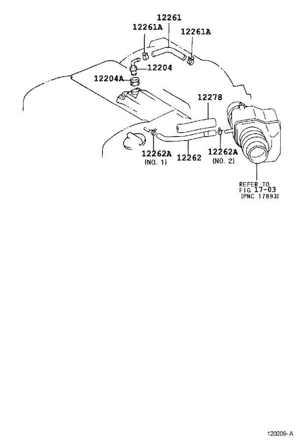 Toyota Camry Pcv valve hose. Hose, ventilation, no.2